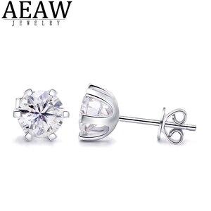 AEAW 2ctw DEF белый алмаз тест прошел Moissanite серьги серебристого цвета; Бижутерия драгоценный камень девушка подарок Специальная цена для женщин