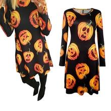 halloween dress women pumpkin print long sleeve dresses 2019 fashion clothes vintage print o-neck casual elegant plus size plus size halloween cat bat pumpkin print dress