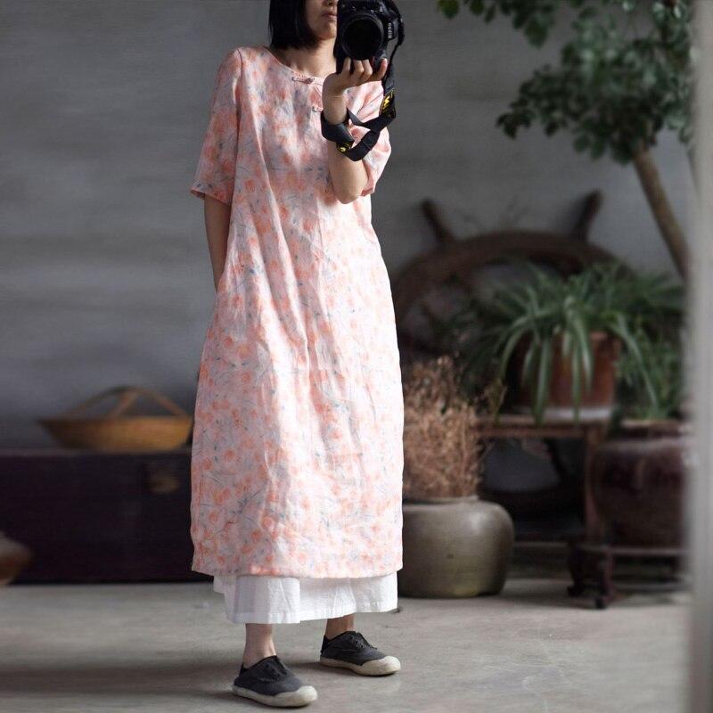 Cotton Art Linen Folk Women Maxi Long Button Floral Loose Qipao Dress Coat New