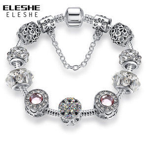 Original Silver Color Crystal Four Leaf Clover Bracelet with Murano Glass Beads Charm Bracelet Bangle for Women DIY Jewelry(China)