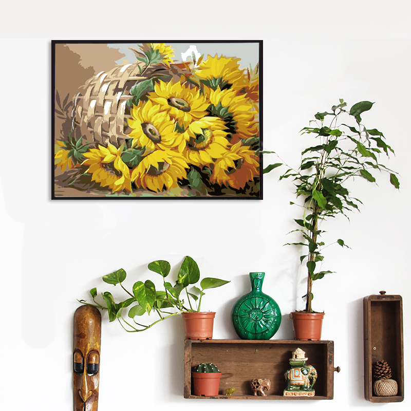 SDOYUNO 60x75cm Frame DIY Painting By Numbers Kits Sunflowers Abstract Modern Home Wall Art Picture Flowers SDOYUNO 60x75cm Frame DIY Painting By Numbers Kits Sunflowers Abstract Modern Home Wall Art Picture Flowers Paint By Numbers