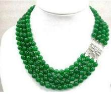 Jewelry Pearl Necklace Stunning pretty Natural 4 rows natural green jade beads necklace Free Shipping(China)