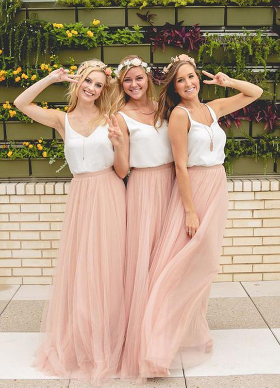 Blush 2019 Cheap Bridesmaid Dresses Under 50 A-line V-neck Tulle Long Wedding Party Dresses For Women