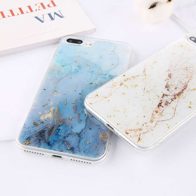 Luxury Soft Marble Glitter Case for iPhone