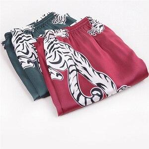 Schlafanzughose pantalones de dormir para hombres simulación Tigre impresión seda Lencería hombres Animal estampado Pijamas largos para hombres