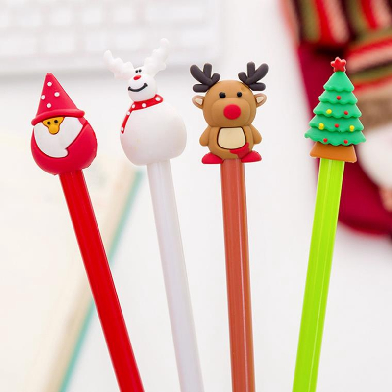 4 Pcs/set Cartoon Christmas Tree Santa Claus Snowman Elk Gel Pens For School Office Supply Escolar Papelaria Gel Pen Stationery