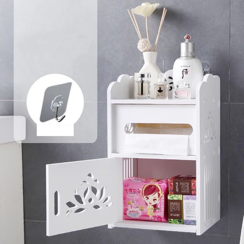 Wall Mounted PVC Waterproof Toilet Cabinet Bathroom Storage Rack Tissue Box Kitchen Bathroom Organizer Makeup Organizer