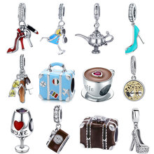 Berloque 925 Sterling Silver high heels Shoes Tree of Life traval dream camera Beads Charms Fit for silver 925 Jewelry Making
