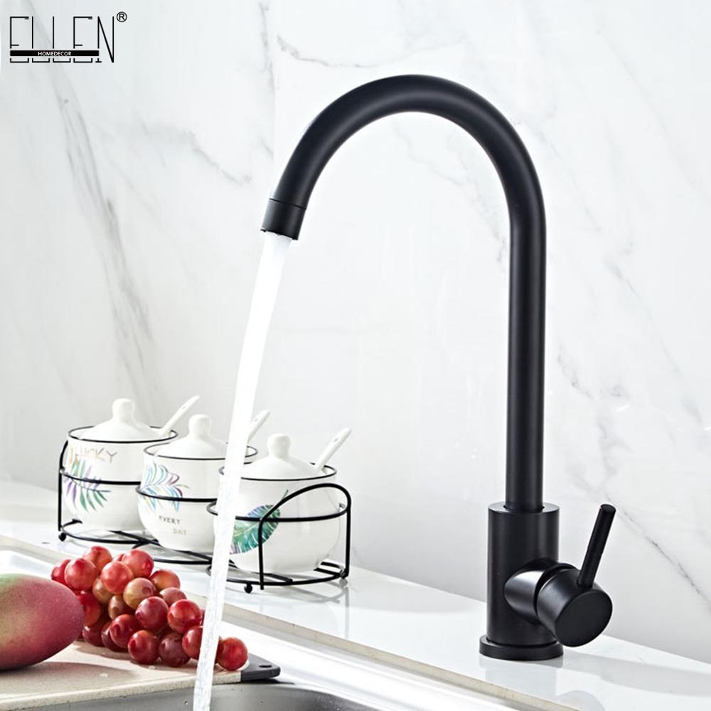 ELLEN Black Kitchen Faucets  Hot Cold Sink Faucet 360 Degree Rotation Stainless Steel Brushed Faucet ELK02