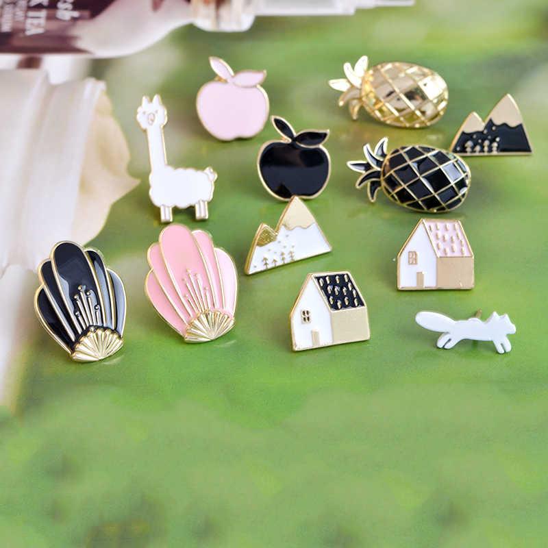 Apple Pine Apple Shell Rumah Fox Gunung Bros Kartun Ransel Pakaian Enamel Pin Tombol Paduan Lencana Grosir Kerah Pin