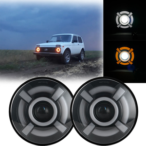 "Image 5 - 2X 7Inch LED Headlamps with Halo Ring Amber Turn Signal For lada niva 4x4 suzuki samurai 7"" LED DRL Halo Headlights For VAZ 2101"
