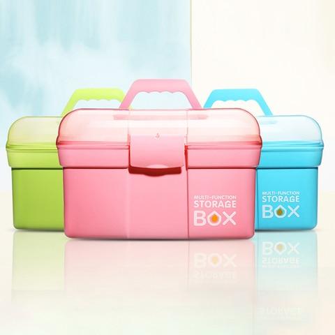 1 pc rosa grande capacidade unha arte ferramenta caixa de armazenamento caso portatil caso de