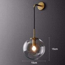 Nordic Modern Vintage LED Wall Lamp Glass Ball Bathroom Mirror Beside Lamps Indoor American Retro Wall Light Sconce Wandlamp