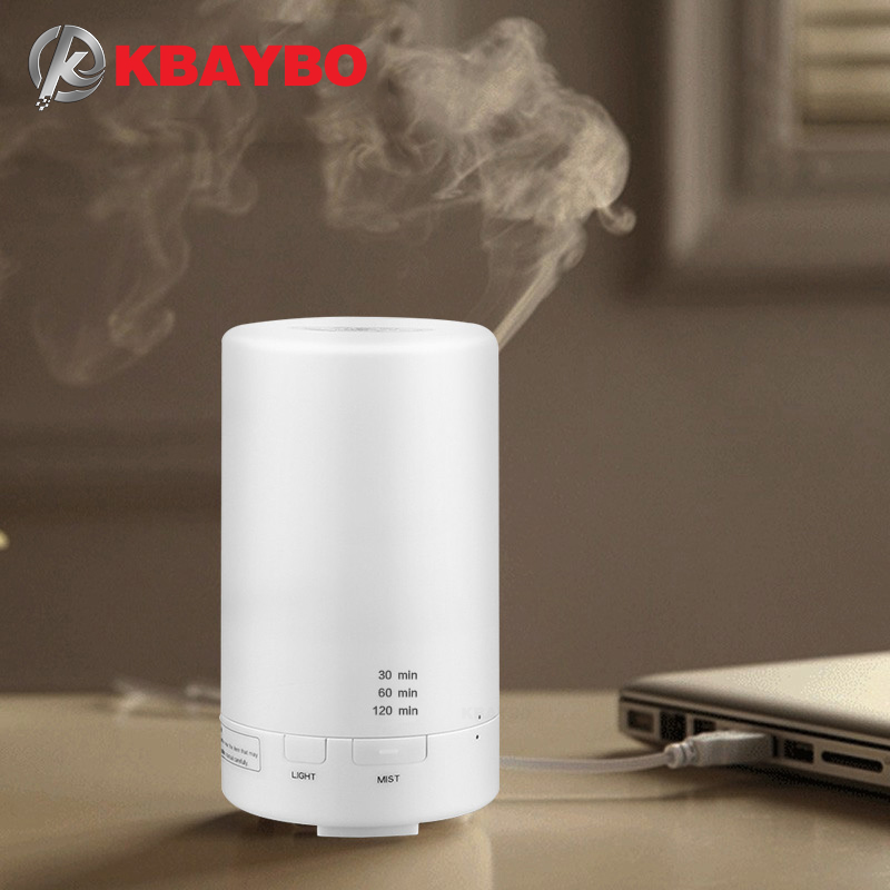 KBAYBO 50ml Ultrasonic USB Diffuser Air Humidifier Essential Oil Diffuser Aromatherapy Car Diffuser Humidifier 7 Color LED Light