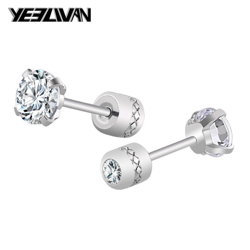 Luxury Brand Crystal Zircon Stone Men Earring Fashion Stainless Steel Korean Jewelry Punk Double Stud Earrings For Women