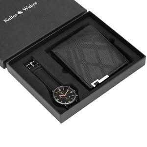 Image 2 - Luxus Männer Uhr Brieftasche Set Lederband Quarz Armbanduhr Mode Analog Uhr Geburtstag Geschenke für Vater Ehemann freund