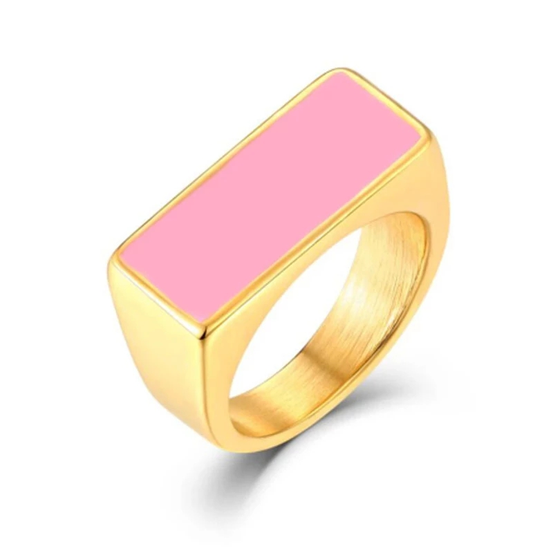 Logo Ring New Hip-Hop Men And Women Titanium Steel Personality Simple Four-Color Hook Street Style Titanium Steel Ring Wholesale