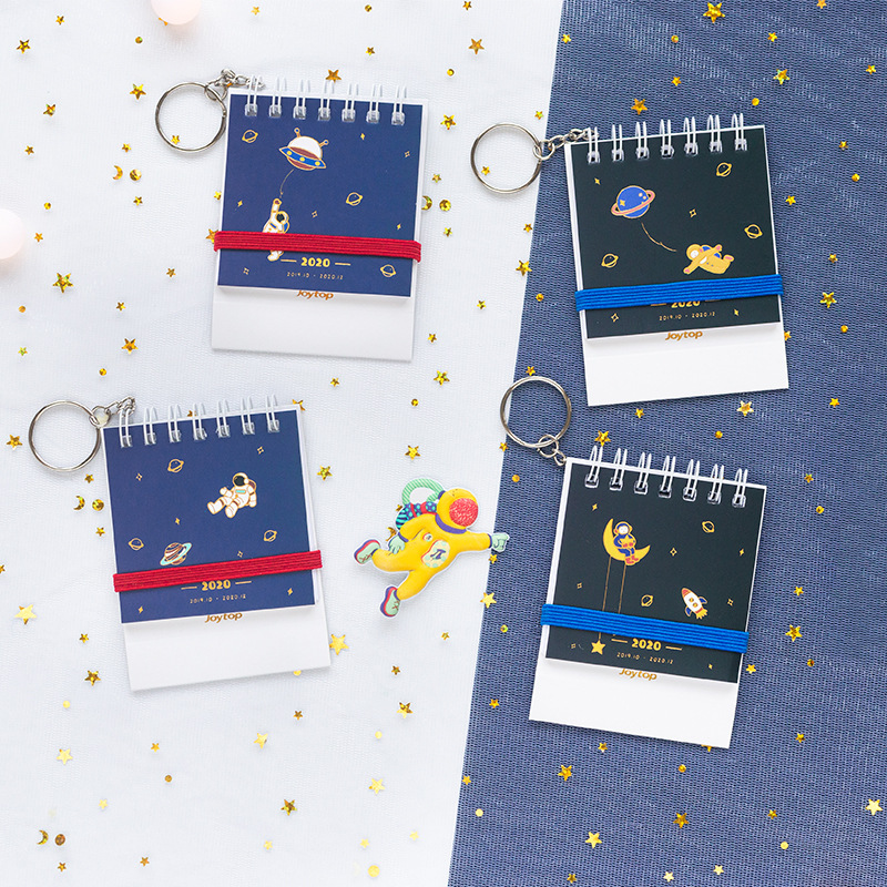 Creative 2020 Year Walk The Planet Flower Desk Calendar DIY Mini Coil Calendars Daily Schedule Planner Key Chain