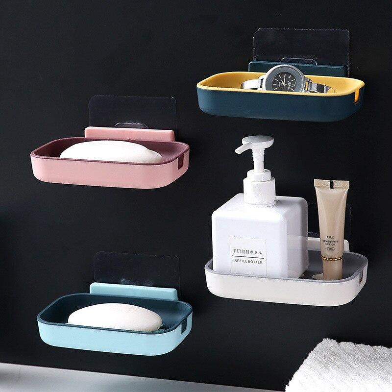 Горячая Распродажа, двухслойный держатель для мыла без сверления, настенная полка для мыла для ванной, бесшовная паста, дренаж для мыла|Портативные мыльницы|   | АлиЭкспресс - Для ванной