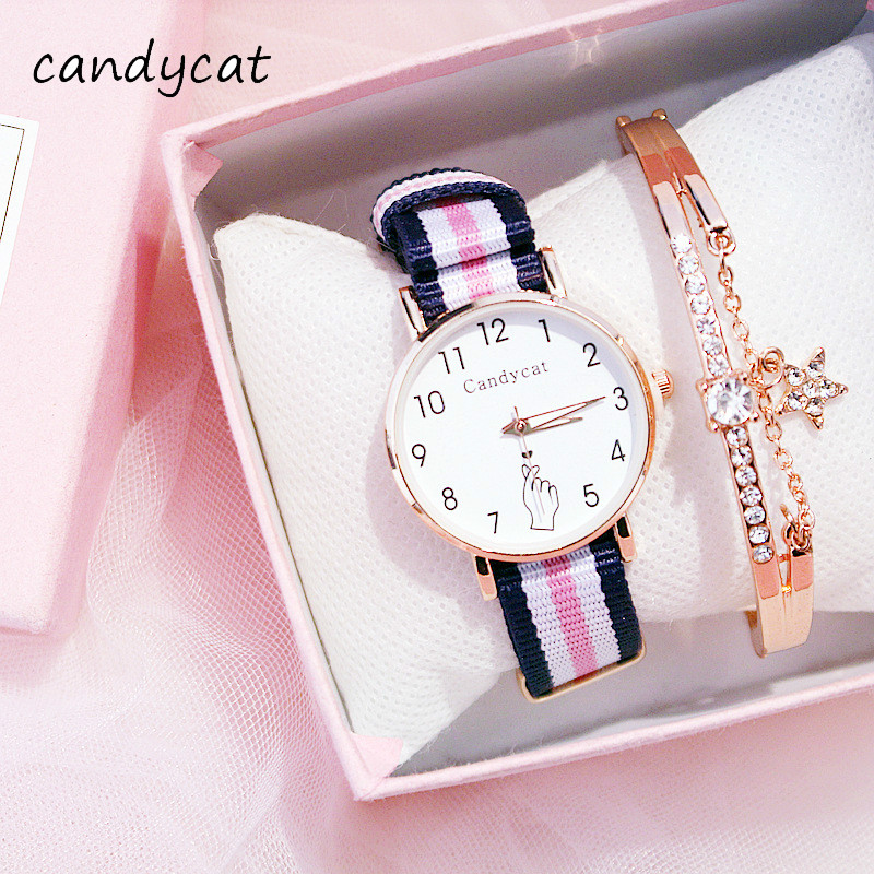 CandyCat Women College Wind Temperament Students Korean Version Of The Simple Canvas Girls College Entrance Examination