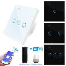 WiFi Smart Licht Schalter Glas Panel Touch Schalter Kompatibel mit Alexa Google Hause Smart Wand Schalter 10A 90 250V Timer Funktion