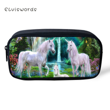 ELVISWORDS Kids Pencil Case Fantasy Horse sPattern Students Stationery Box Kawaii Animal Design School Pen Bags Girls Beautician