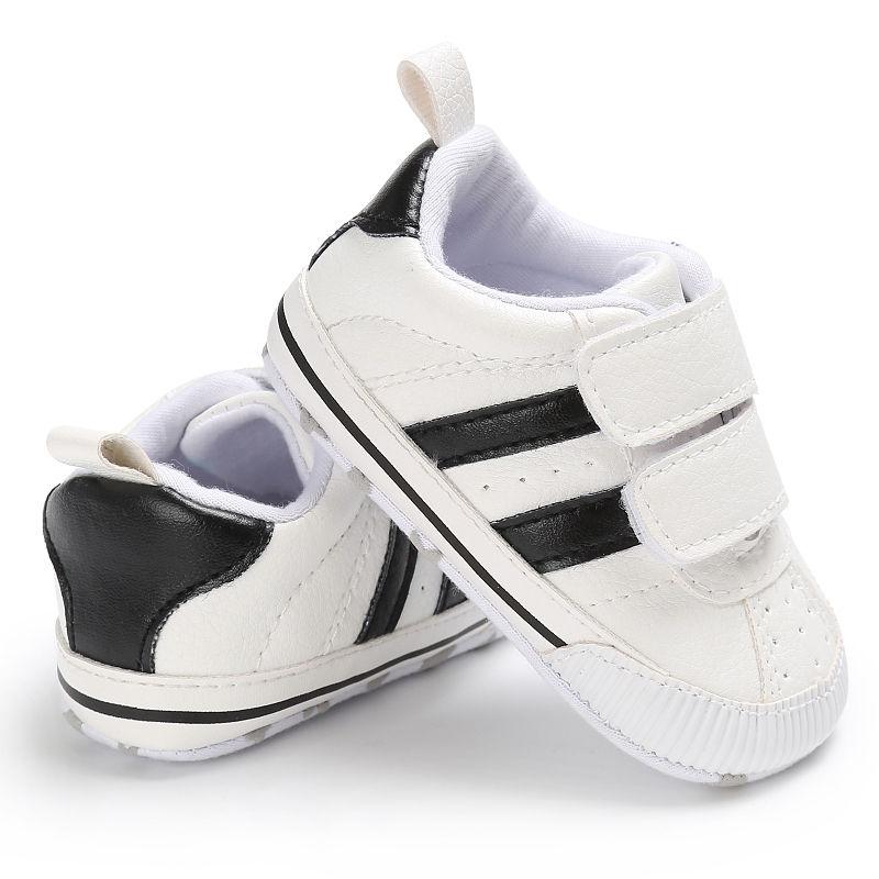 Infant Newborn Toddler Baby Boy Girl Crib Striped Shoes Soft Sole Hook Loop Prewalker Sneakers 0-18 Months