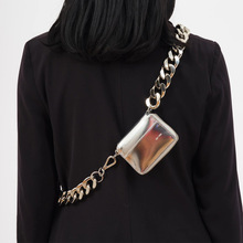 Thick metal chain strap small women chest bag handbag luxury shoulder b