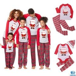 2019 casual natal família pijamas pjs define crianças adulto pijamas roupa de dormir roupas de santa conjunto combinando roupas de família