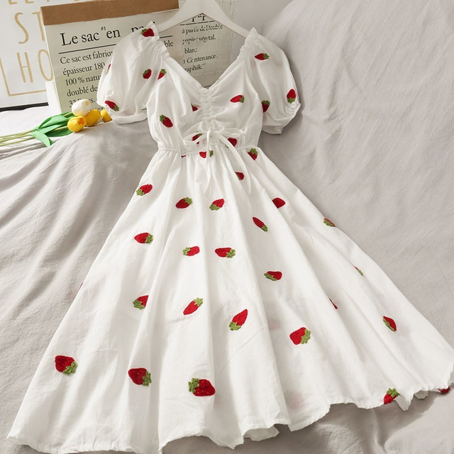 Strawberry Dress Kawaii Embroidery Puff Sleeve Dress Women Vintage A-line White Square Neck Beach Dresses 2021 Korean Clothes 1