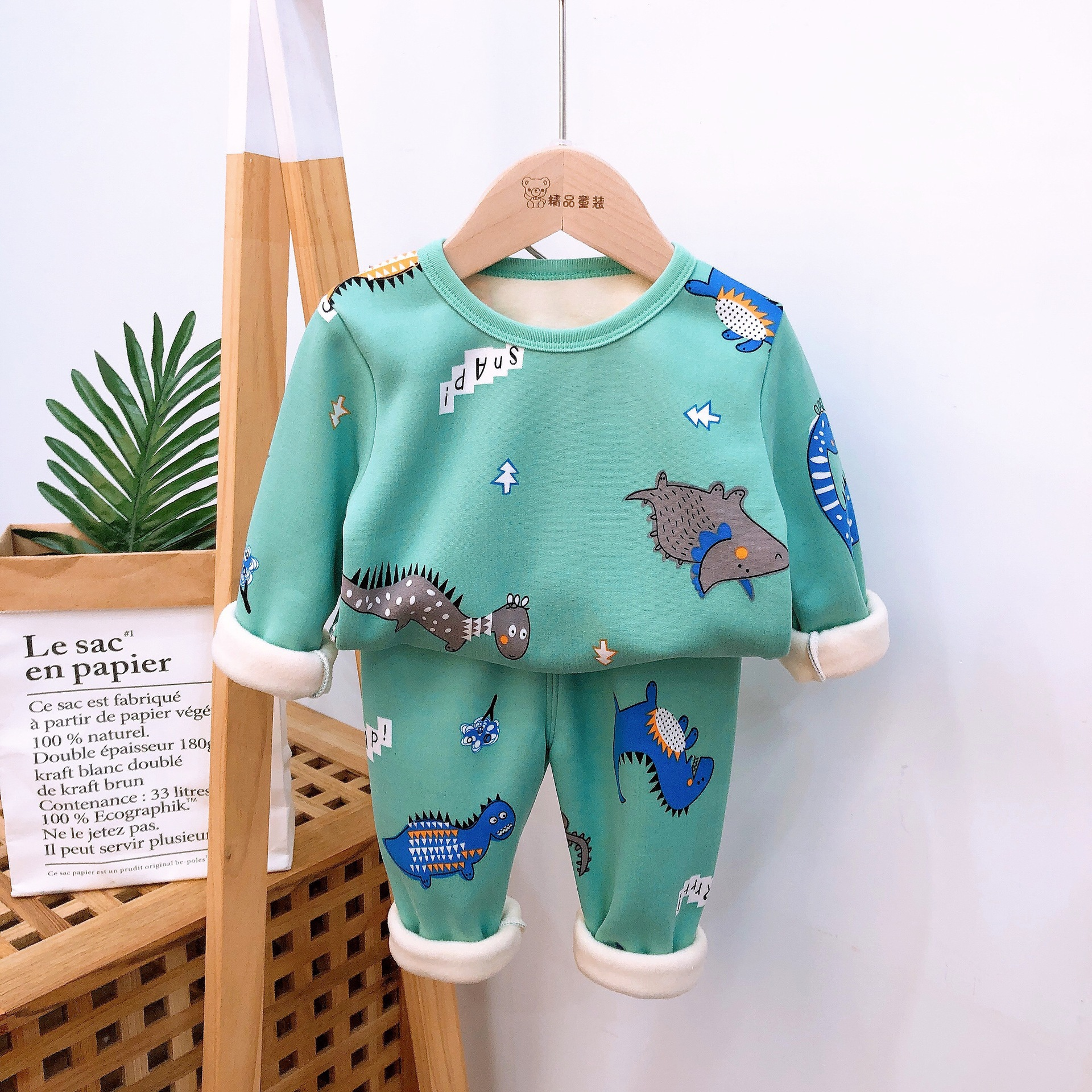 2021 Autumn Winter Thicken Velvet Children Pajamas Cartoon Family Boys Girls Clothing Set Kids Casual Sleepwear Suits Clothes 3