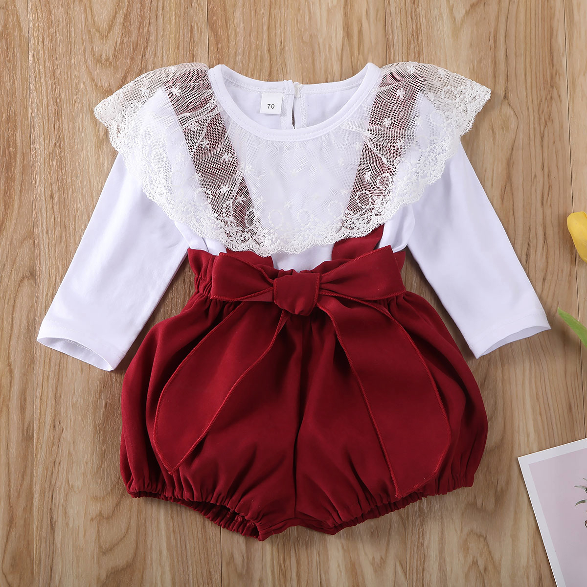 Pudcoco Newborn Baby Girl Clothes Solid Color Lace Ruffle Long Sleeve Tops Strap Shorts Overalls 2Pcs Outfits Cotton Clothes