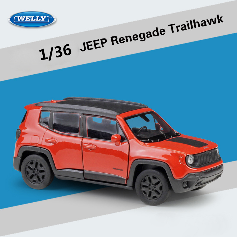 Welly Diecast 1:36 Simulator JEEP Renegade Trailhawk SUV Off-Road Model Car Pull Back Car Metal Alloy Toy Car For Kid Collection