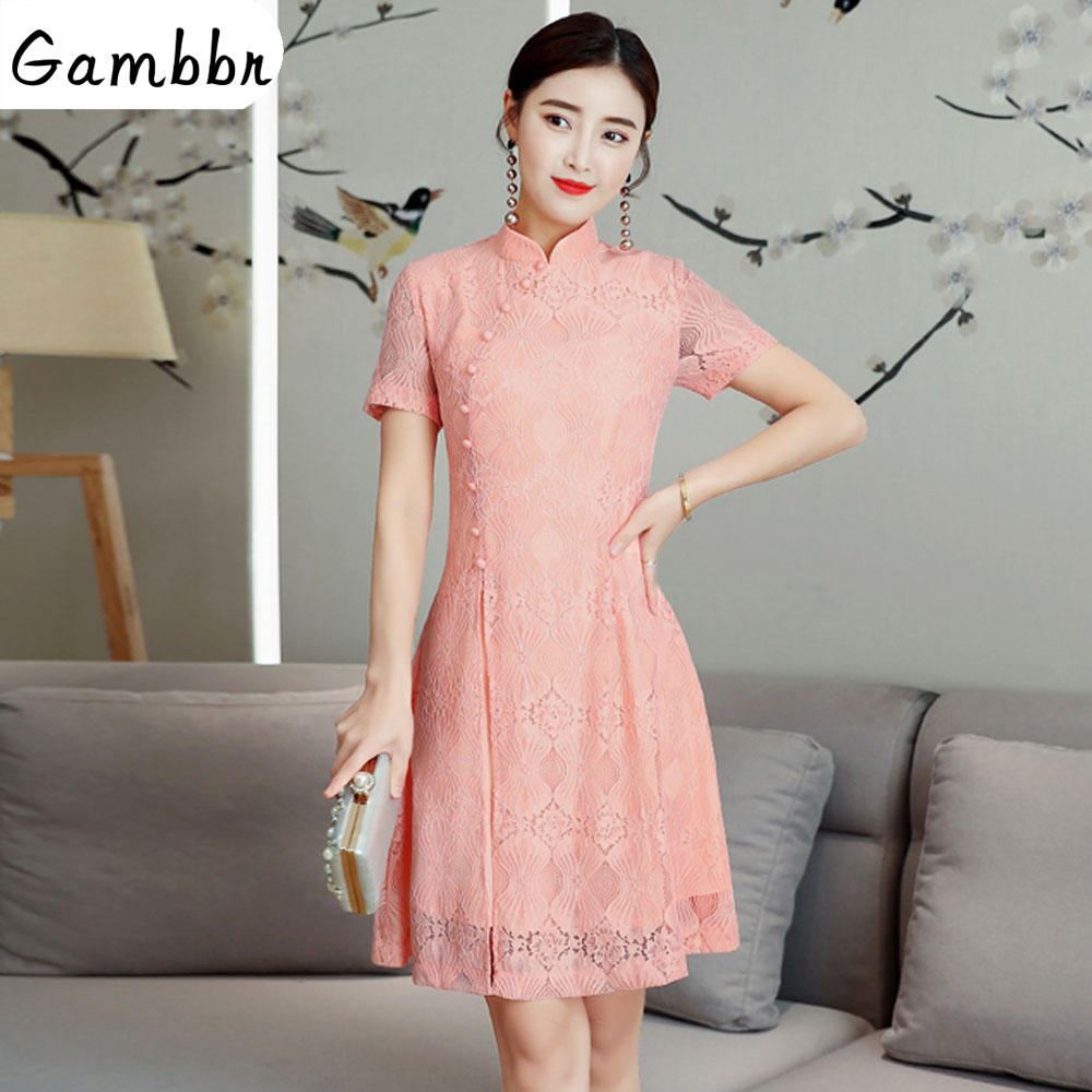 2019 Summer Modern Cheongsam Women Short Lace Qipao Chinese Dress Qi Pao Party Vintage Ao Dai Elegant Dress High Quality Improve