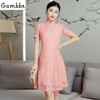 2019 lato nowoczesne Cheongsam kobiety krótka koronkowa Qipao chińska sukienka Qi Pao Party Vintage Ao Dai elegancka sukienka wysokiej jakości poprawić tanie i dobre opinie Gambbr Akrylowe Poliester spandex
