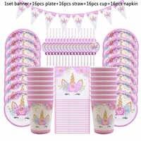 65 pçs unicórnio fontes de festa crianças decoração de aniversário conjunto de utensílios de mesa descartáveis pratos de papel copo banner chá de fraldas decoração da menina