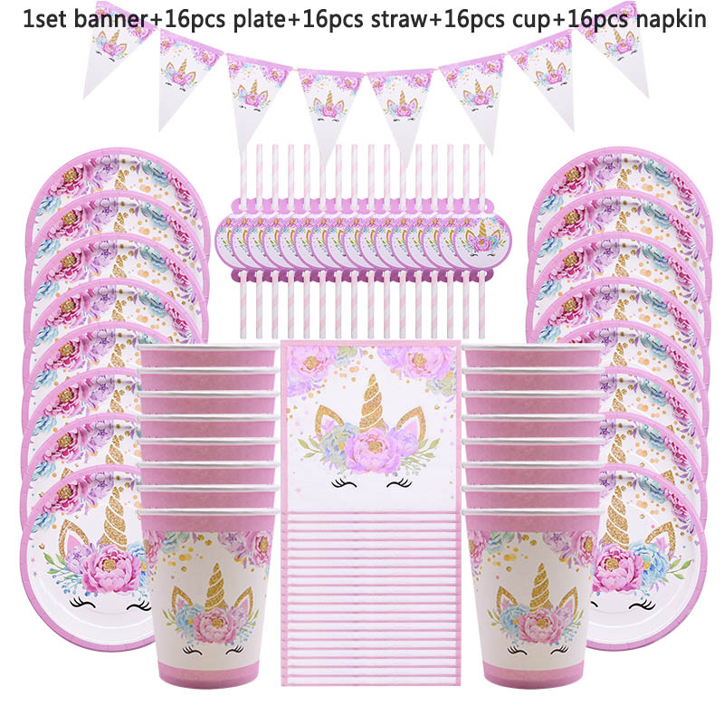 65Pcs Unicorn Party Supplies Kids Birthday Decoration Disposable Tableware Set Paper Plates Cup Banner Baby Shower Girl Decor