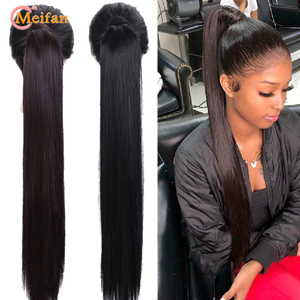 MEIFAN 32Inch Long Silky Straight Ponytail Clip in Ponytail Synthetic Natural False Hair Extension Wrap Around Hair Tail Hairpie