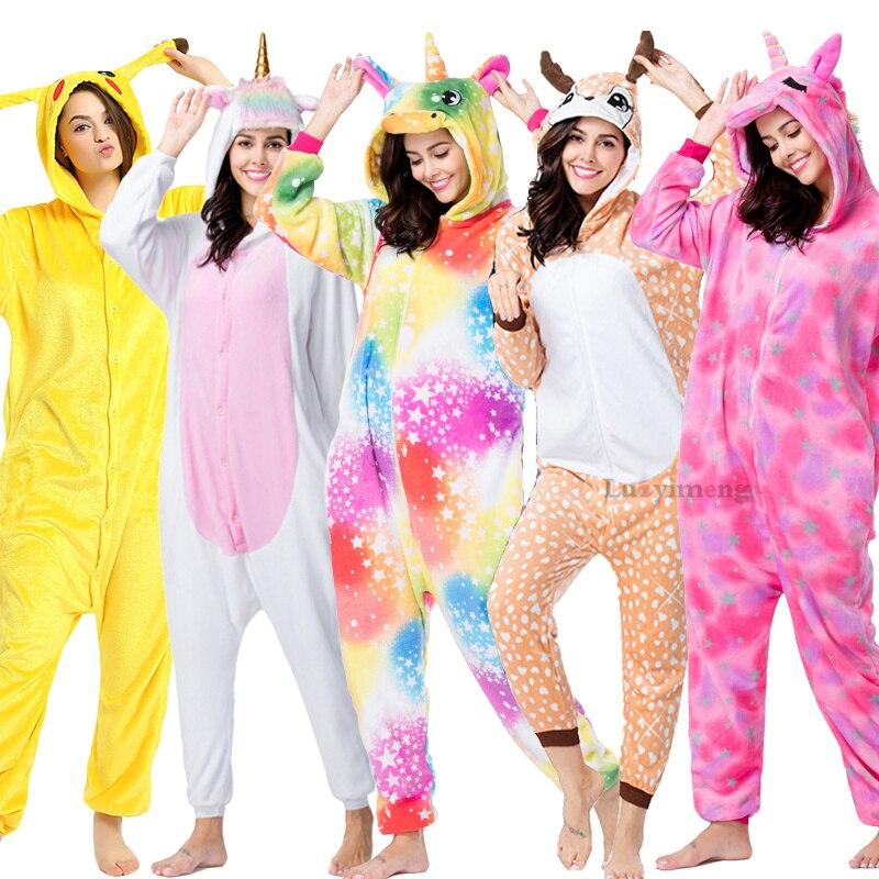 Cartoon Pikachu Kigurumi Pajamas For Adults Stitch Unicorn Onesie Women Sleepwear Winter Hooded Animal Panda Costumes Pyjamas