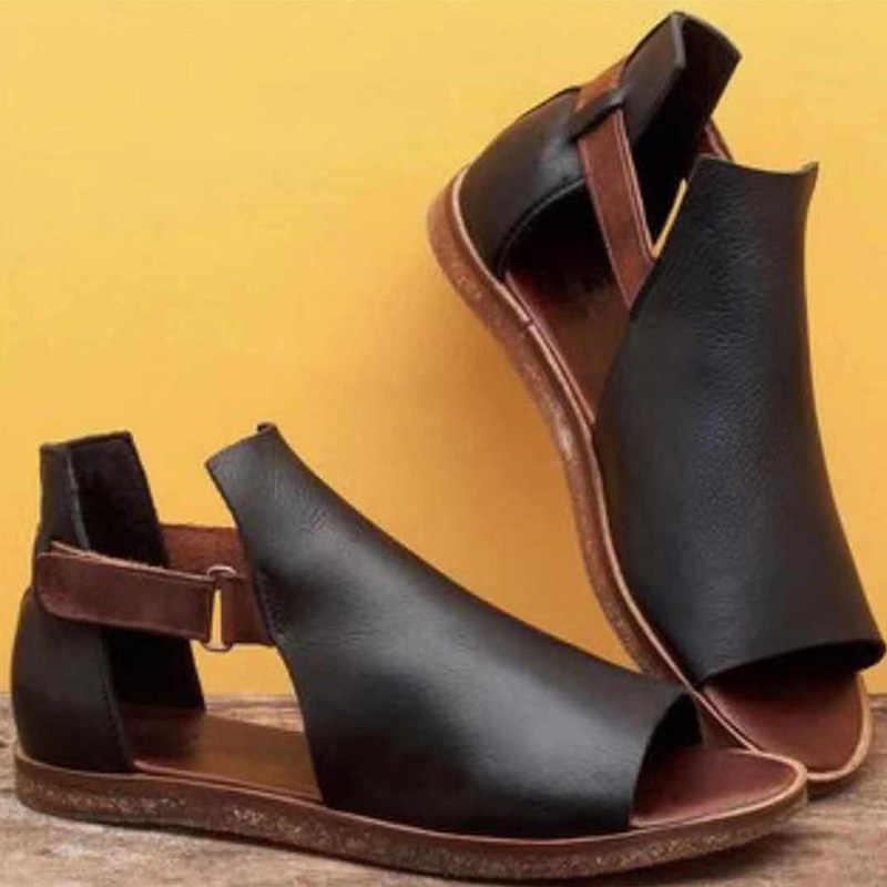 Yaz kadın düz sandalet yumuşak PU kanca döngü Peep Toe sandalet bayanlar moda burnu açık Retro roma kadın ayakkabı kadın rahat
