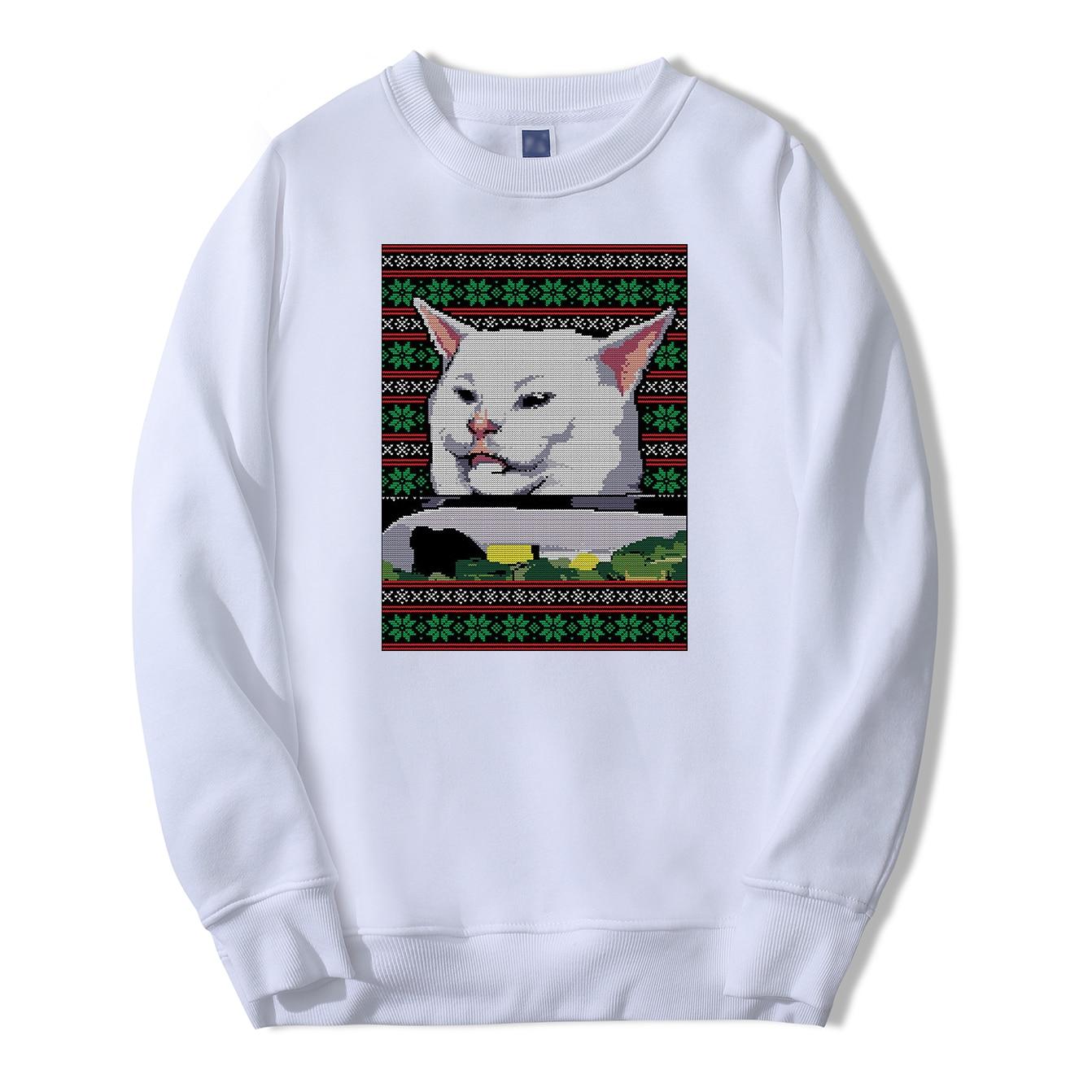 Animal Cat Funny Sweatshirt Hoodies Men Hip Hop Pullover Fleece Streetwear Crewneck Casual Sweatshirts Fashion Winter Sportswear