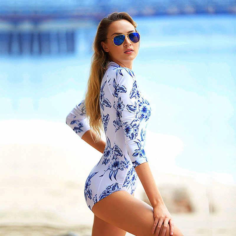 Wanita Gambar Bunga Ruam Penjaga Satu Potong Baju Lengan Panjang Baju Renang Tutup Kembali UV Perlindungan Surfing Swimsuit Beachwear