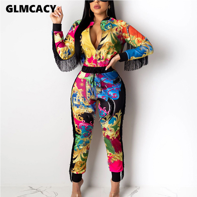 Women 2 Piece Sets Tassel Design Long Sleeve Cardigan Hoodies & High Waist Bodycon Skinny Pants Sexy & Club Outfit Suits