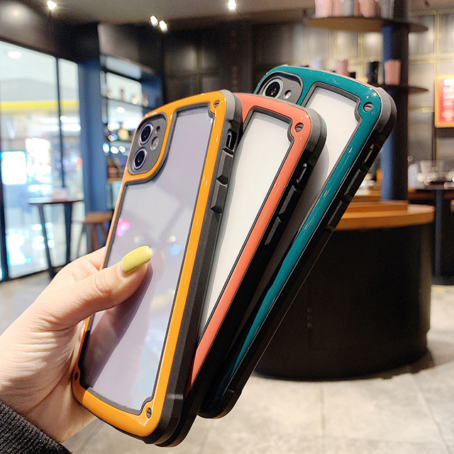 Luxury Transparent Phone Case For Apple iPhone 11 12 Pro Max mini SE 2020 X XR XS Max 7 8 Plus Camera Candy Color Cover Case 5