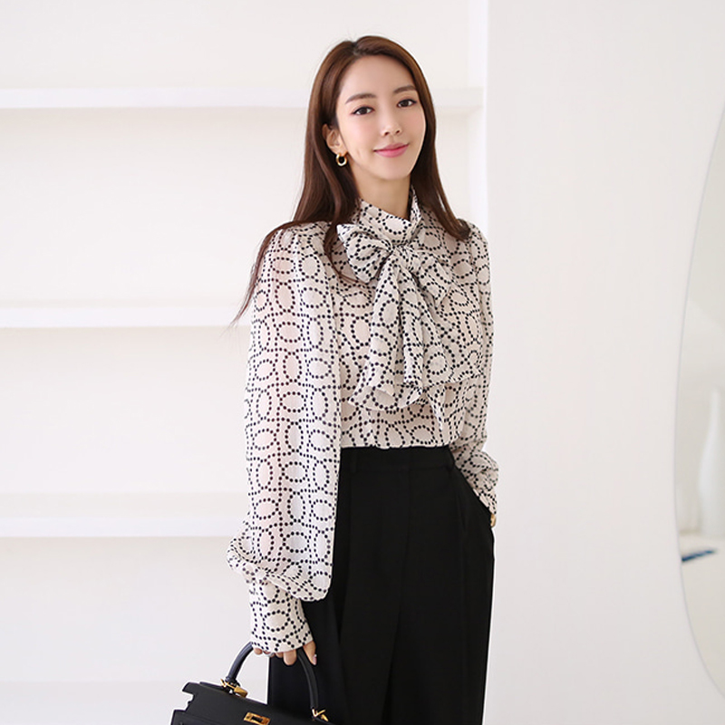 2020 Autumn Stand Neck Bowknot Chiffon Print Blouse Shirt High Waisted Black Long Pant Casual 2 Piece Office Sets