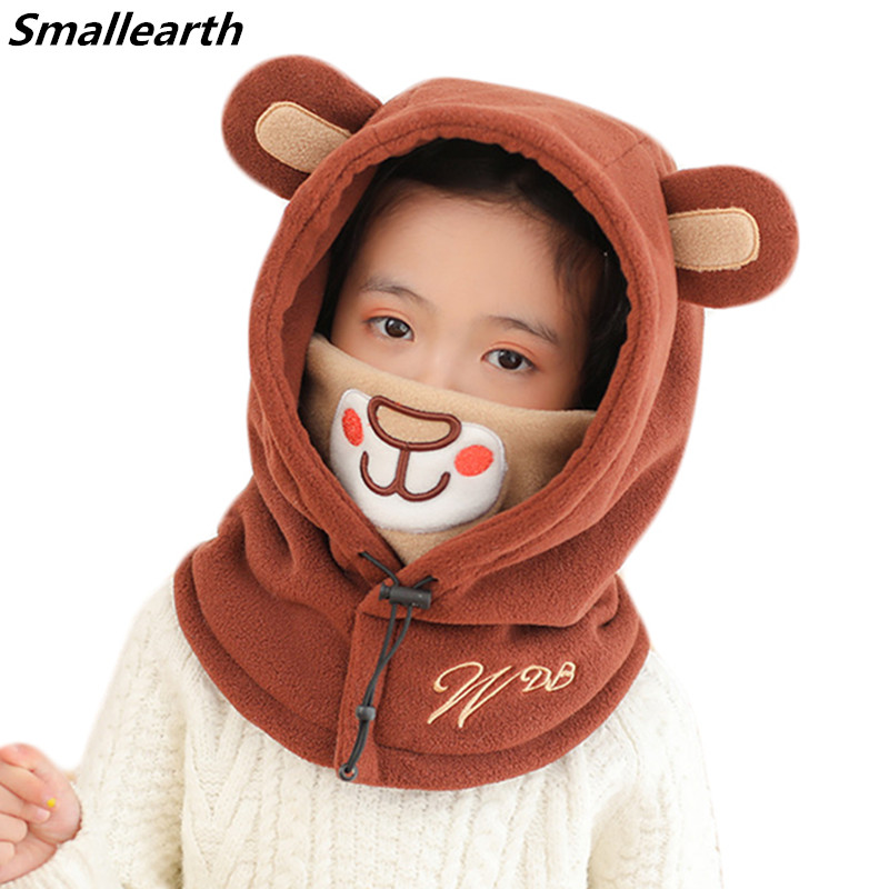 New Winter Thick Baby Hat with Hood Scarf Cute Bear Ear Warm Plush Kids Baby Hats Caps for Boys Girls Windproof  Children Hat
