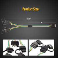 Parts Y Splitter Harness 2 Way 4 Pin Extension With Dust Cap 12V Waterproof 4 way Splitter Wiring Harness|RV Parts & Accessories|   -