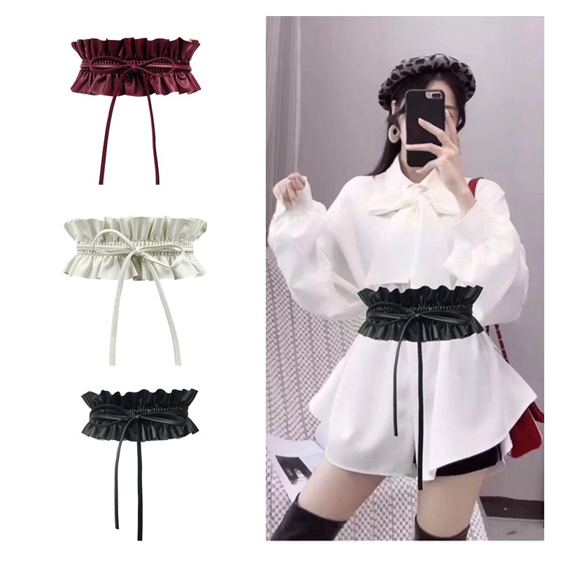 Pu Leather Ruffle Soft Corset Belts Elastic Wide High Waistband Bowknot Women Dress Waist Belt Cummerbunds Retro Elasticity