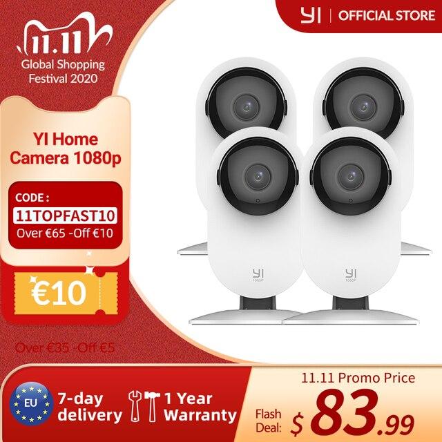YI 4pc 홈 카메라, 야간 투시경 1080p Wi Fi IP 보안 감시 스마트 시스템, iOS, Android app의 베이비 모니터