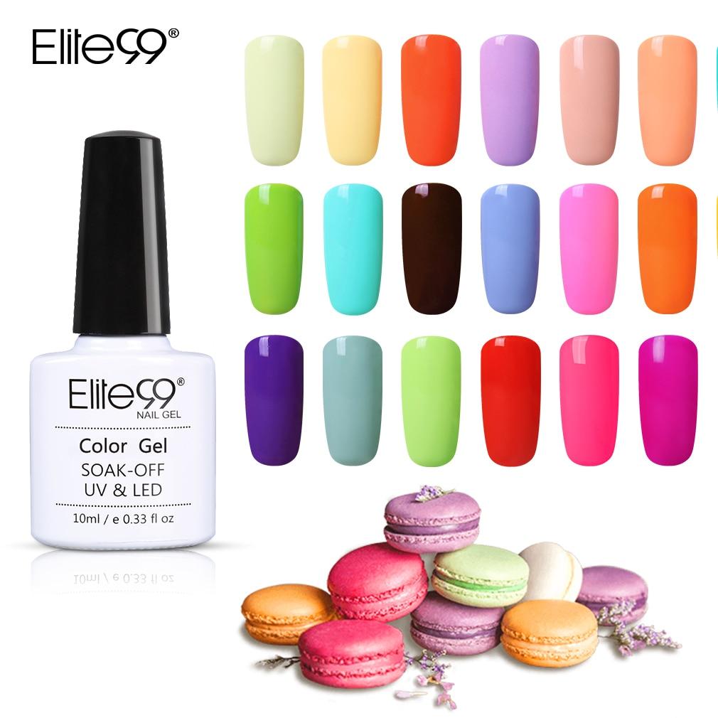 Elite99 10 мл Макарон Цвет УФ-гель Лаки лак для ногтей маникюр покрытие для ногтей, полустойкое к полу постоянный Гибридный рисунки на ногтях Off Г...